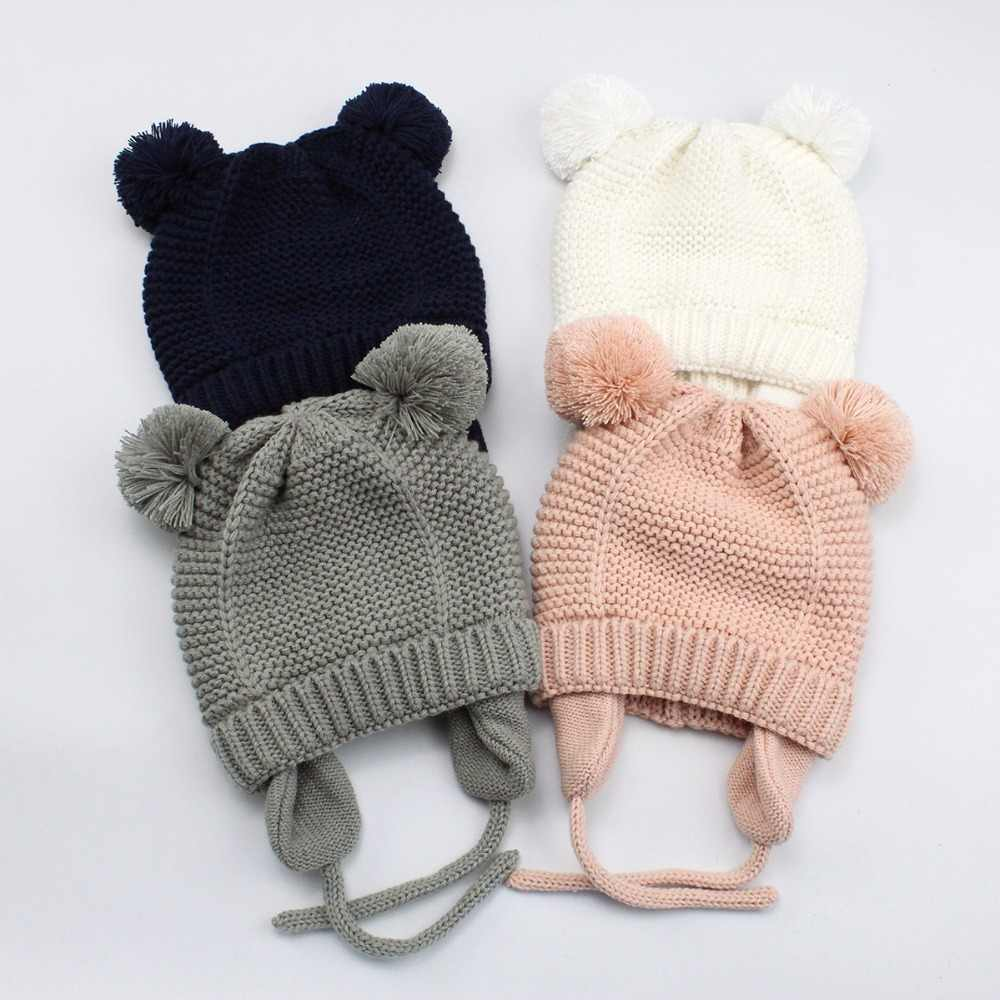 3ca680c3191 Bear Ears Cute Baby Hat Soft Cotton Newborn Baby Beanie Double Layer Warm  Winter Hat For