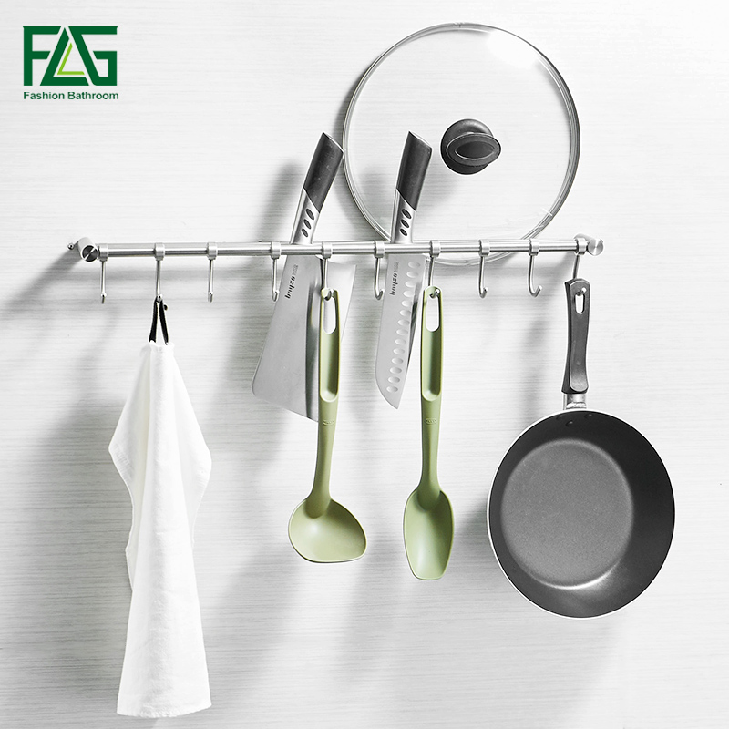 FLG Wall Mounted Kitchen Racks Kitchen Accessories Towel Holder with 10 Stainless Steel Hook Brushed Nickel Bathroom Shelf