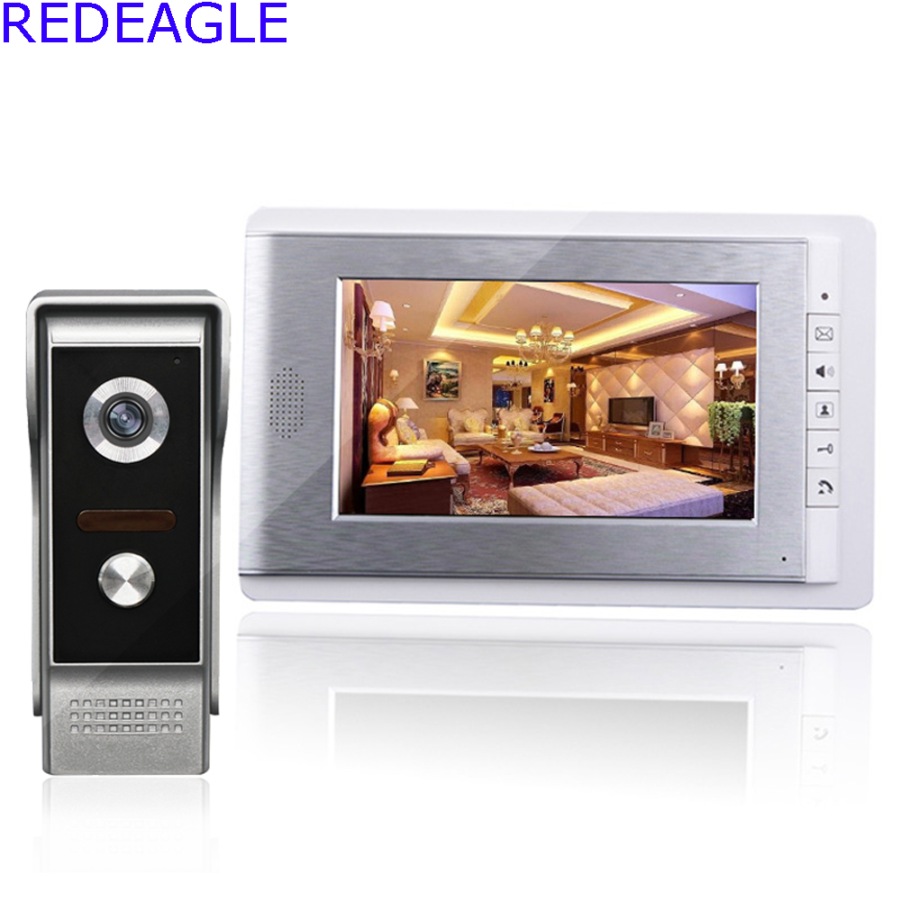 Home 7 Inch Color LCD Video Door Phone Intercom System with Night Vision Doorbell Camera + 4M Cable Free Shipping hot sale tft monitor lcd color 7 inch video door phone doorbell home security door intercom with night vision