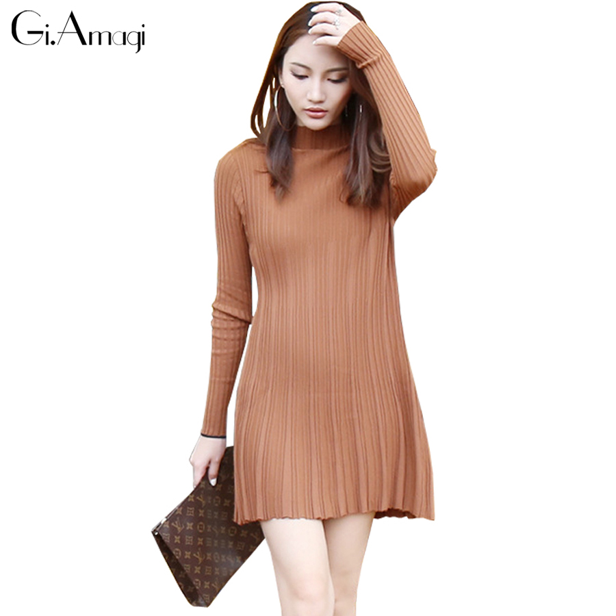 b408e4959fd Cansual Women Autumn Knit Dresses 2016 Long Sleeve Tropical Long sweater  Dress Solid Hedging Black Dresses-in Dresses from Women s Clothing    Accessories