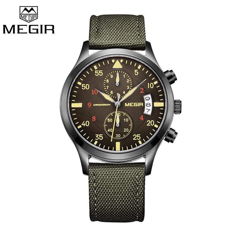 Prix pour MEGIR D'origine Hommes Montres De Mode Toile Militaire Montre pour Doux Hommes Homme Quartz Montres Relogio Masculino Reloj Hombre