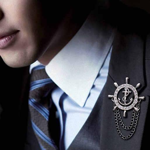 Korea Bros untuk Pria Emas Kemudi Jangkar Bros Pria Setelan Boutonniere Lencana Kerah Pin Wanita Broches Rantai Hadiah Natal