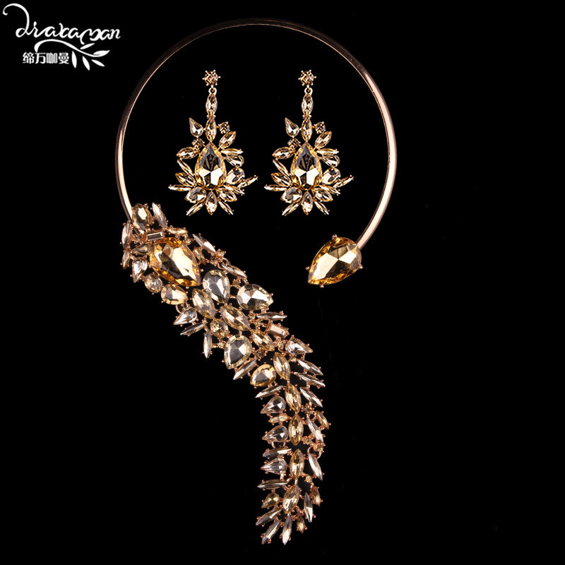 Dvacaman Brand 2018 New Champagne Crystal Jewelry Sets For Women Wedding Bridal Rhinestone Statement Necklace&Drop Earrings TT60 solememo luxury crystal pearl jewelry set for women wedding silver round statement necklace sets pearl drop earrings new n6209