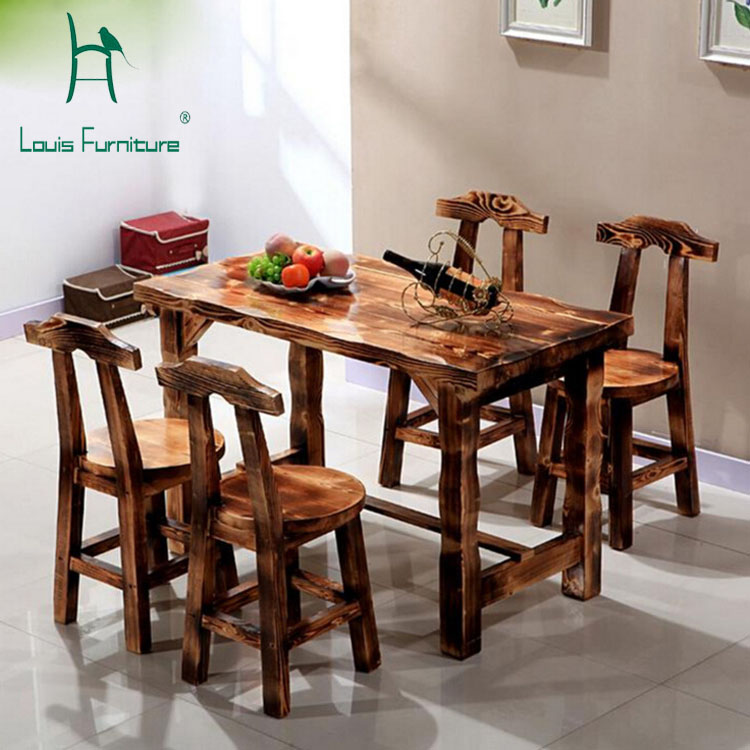 Carbonized Wood Dinette Table And Chairs Courtyard Living
