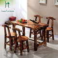 Carbonized wood dinette table and chairs courtyard living room wood preservative antique chairs