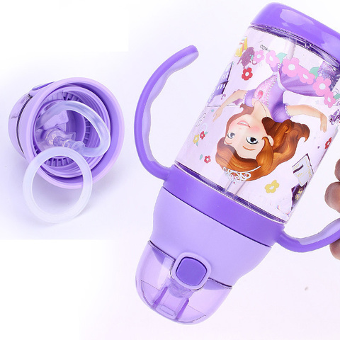 350-500ML Disney Baby Straw Bottle Water Cup Boys Girls Learning Drink Water Strap Handle Cute Babies Baby Mickey Minnie Cup Multan