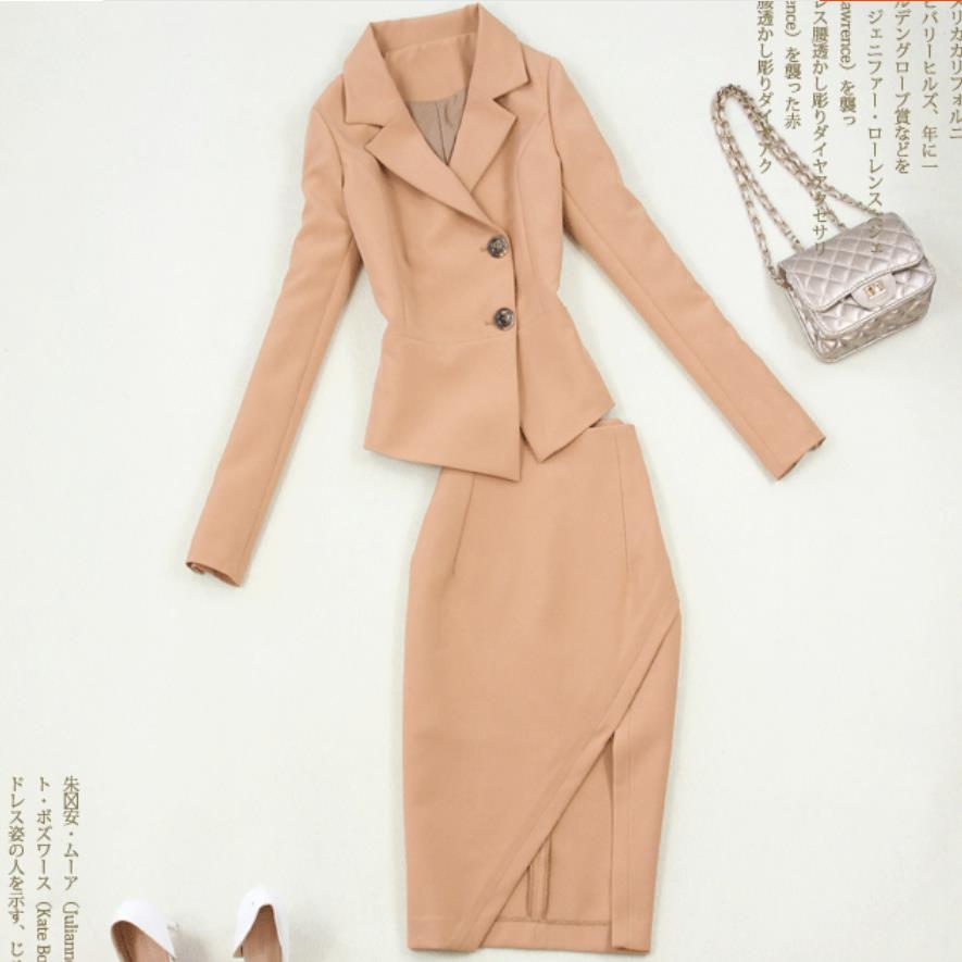 fashion women suits slim work office ladies ol long sleeve blazer skirt suits costumes for women with skirt