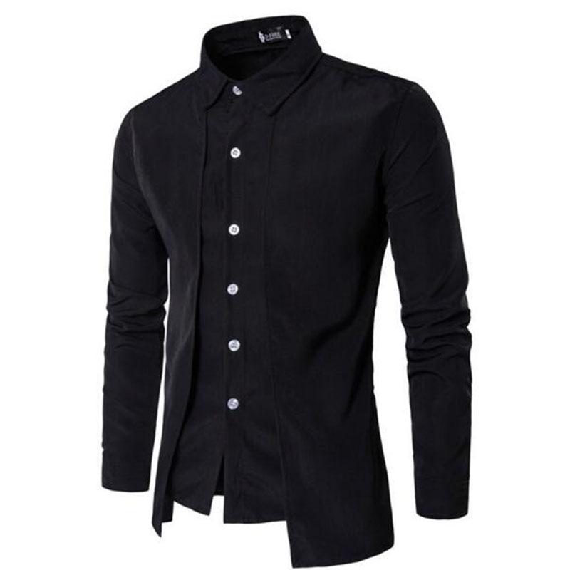 2018 Tuxedo Shirts Men Irregular Fashion Cotton Breathable Comfortable Shirts Blouses,England Style Turn-down Collar Shirts