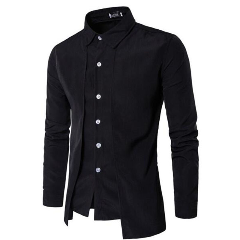 2018 Tuxedo Shirts Men Irregular Fashion Cotton Breathable Comfortable Shirts Blouses,England Style Turn-down Collar Shirts