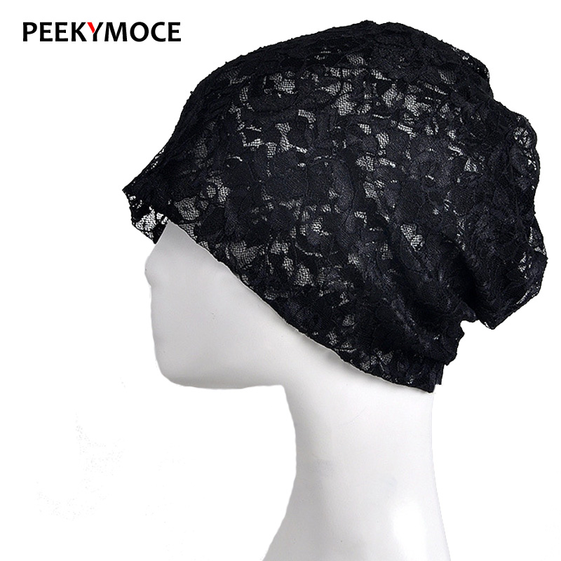 New spring and summer cotton Lady Skullies & Beanies thin section lace hats collar double use female solid color fashion hat skullies