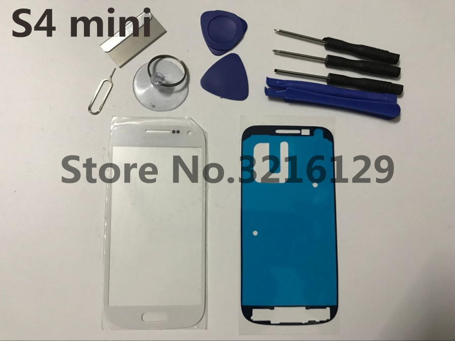 Black/white/blue i9192 Front Outer Glass Lens replacement for Samsung Galaxy S4 Mini i9190 i9195 LCD touch screen+Adhesive+Tools image