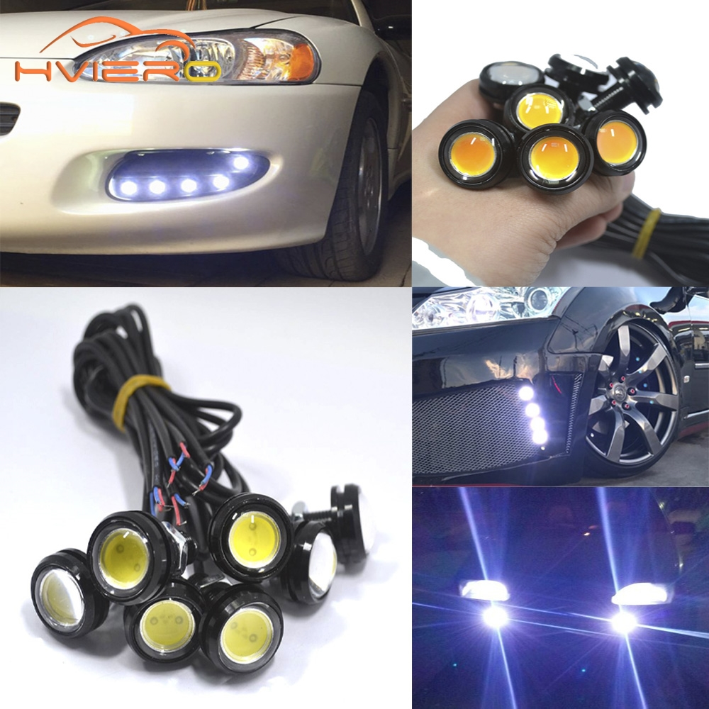White Red Blue 2pcs 23mm Eagle Eye Light Daytime Running Drl Backup Car Motor motorcycle Led Parking Signal Waterproof Fog Lamps tonewan new arrive 2pcs waterproof car drl led eagle eye light 10w car fog daytime running light reverse backup parking lamp