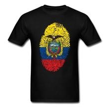 Geek O Neck Organic Cotton Ecuador Flag Fingerprint Men DJ T Shirt Big Size White T Shirt