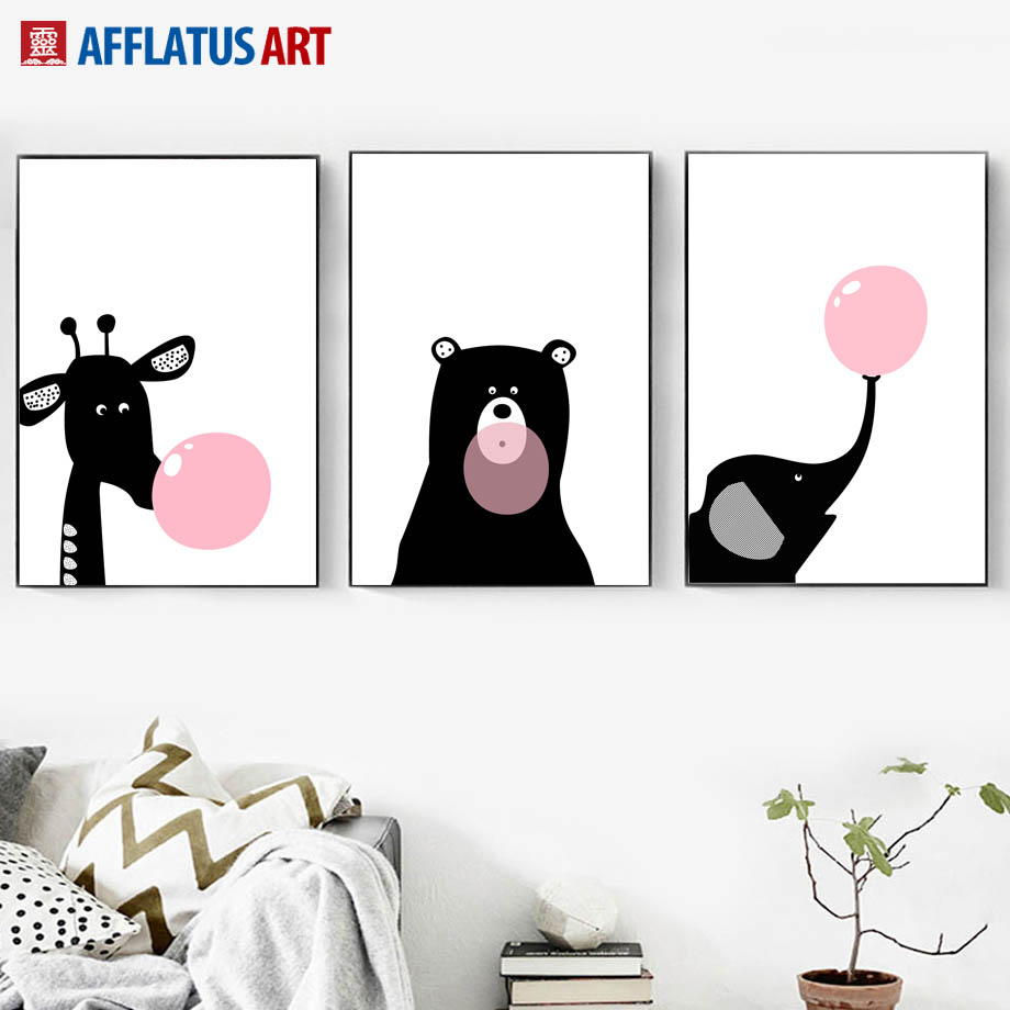 Giraffe Bear Elephant Balloon Nordic Poster Wall Art Print Canvas Painting Black White Animals Pictures Kids Room Boy Decor
