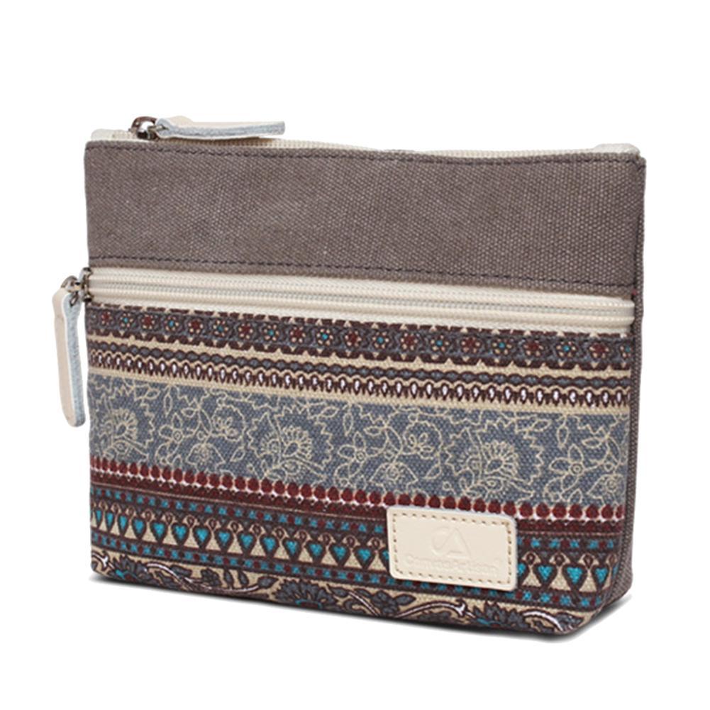 Vintage Canvas Coin Purse Zipper Women Cosmetic Phone Holder Wallet Clutch Bag