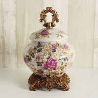 European pottery candy canister retro classical ornaments porch office creative living room luxury retro dry fruit box
