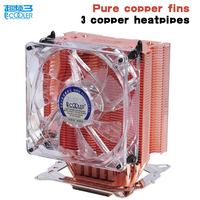 Pccooler CPU Cooler Pure Copper Fins 4pin 9cm PWM Quiet Fan For AMD Intel LGA775 115x