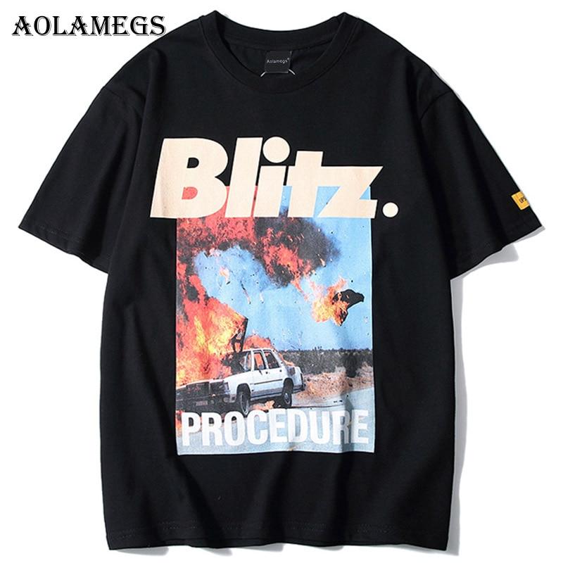 Aolamegs T Shirt Men Accident Printed Men's Tee Shirts Short Sleeve T Shirt Fashion High Street Tees Hip Hop Streetwear Clothing