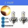 2x H1 H3 H4 H7 55W Yellow LED Car Light Halogen Lamp Bulb Car Styling HeadLight Lamp Xenon Fog Lights Dipped Beam
