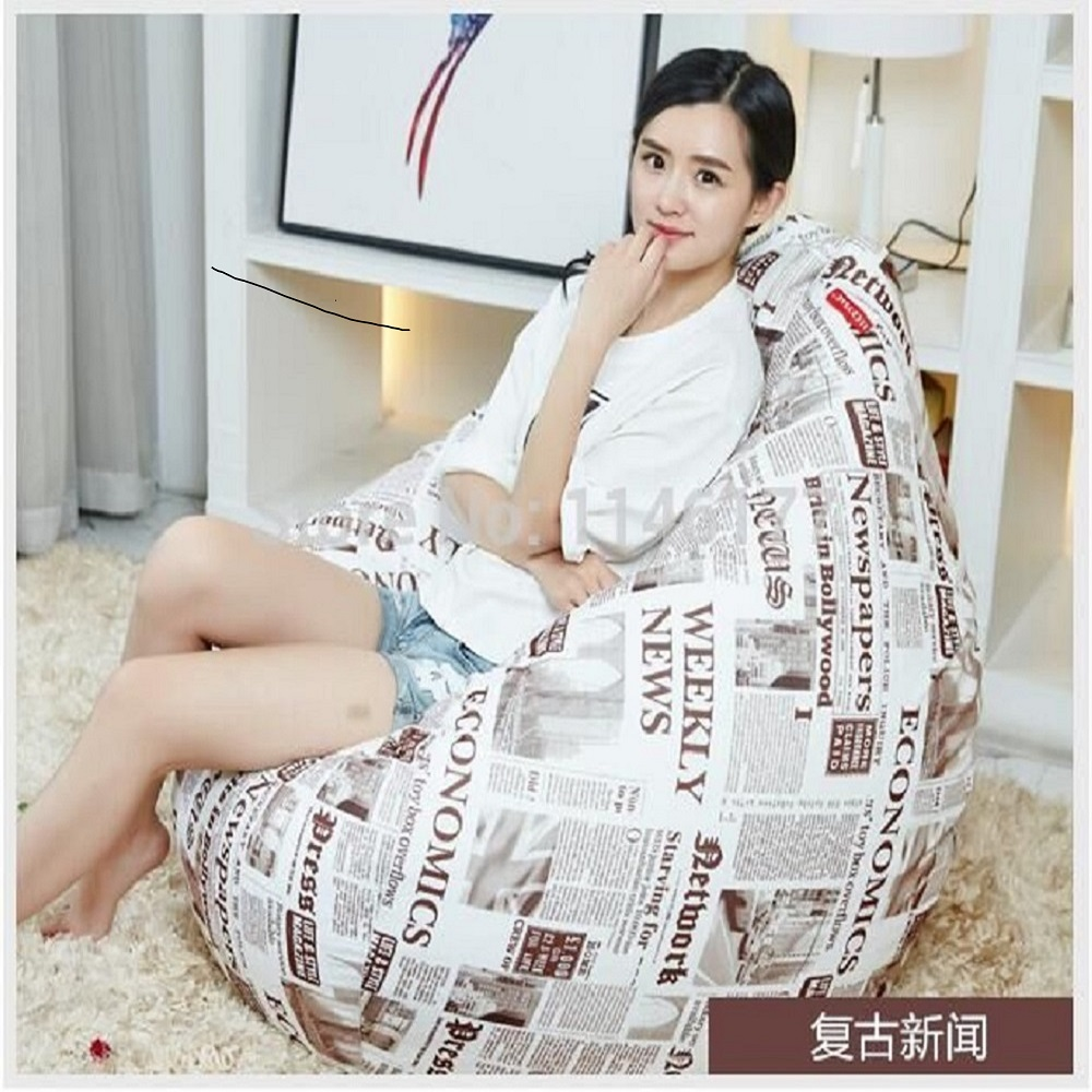 Ywxuege Living Room Beige Sofas Retro news style  Bean Bag Sofa Linen Cotton Soft Sofa Bed Suit For hp 932xl cn053ae