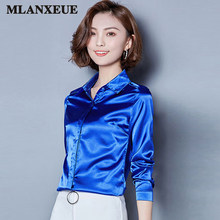 5b9cc40715be51 2018 Women silk satin blouse button lapel long sleeve shirts ladies office  work elegant female Top high quality Blouses 3XL