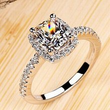 High Quality Round Zircon Ring Smoothly Paved Women Finger Ring Real White Gold Color Crystal Ring Wedding Gift(China)