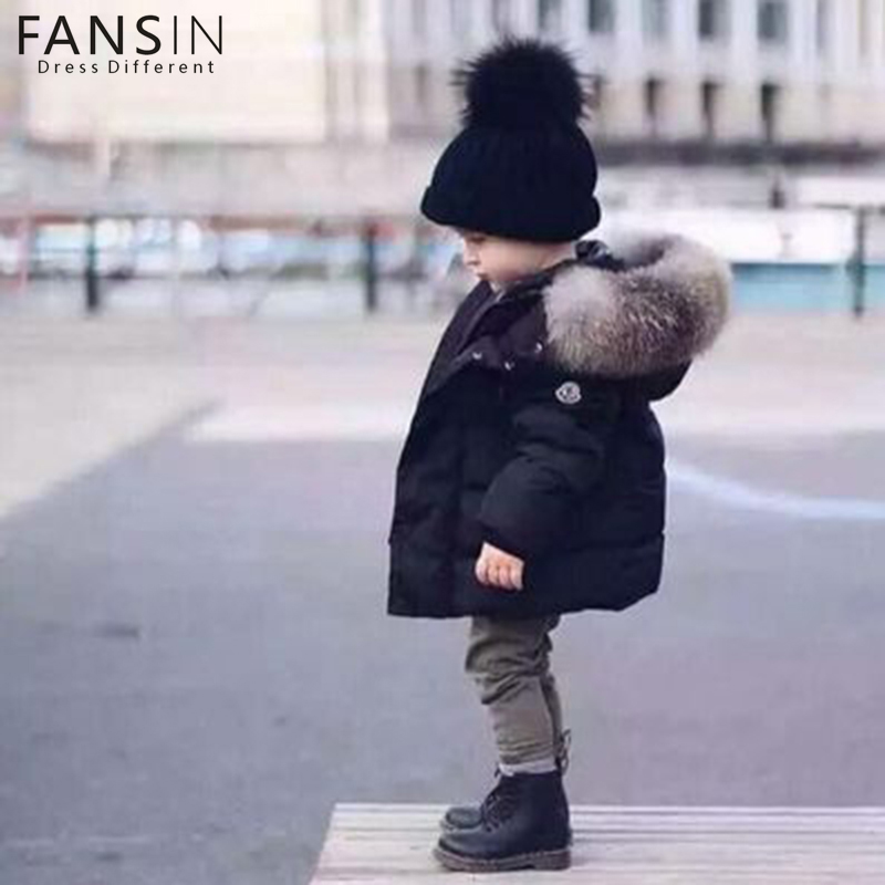 FANSIN Brand Winter Children Warm Down Hooded Outerwear Snowsuit Baby Boys Girls Solid Jacket Overcoat Kid Clothing Coat Parkas baby bomber jacket print infant overcoat winter children s down jacket boys snowsuit baby hooded outwear cotton padded jacket