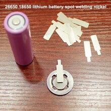 Tapa de soldadura por puntos de batería de 26650, pieza de níquel, batería de litio 18650, se puede soldar a punto, hoja de acero niquelado, 50 unids/lote