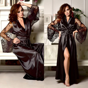 Sexy Ladies Silk Lingerie Sleepwear Women Babydoll Robe Underwear Night Dress 1