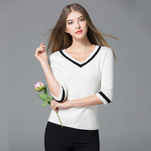 Thin Sweater Women Cotton Blended Knitted V Neck Three-quarter Sleeves Casual Top Basic Clothing Style New Fashion 2018
