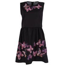 Frauen herbst eleganz sleeveless schwarz sweet schmetterling gedruckt cocktail sexy blackless a-line mini dress
