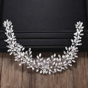 Rhinestone Crystal Headband Bride Hair Accessories Women Crystal Pearl Headband Wedding Bride Hairband Head Jewelry 1