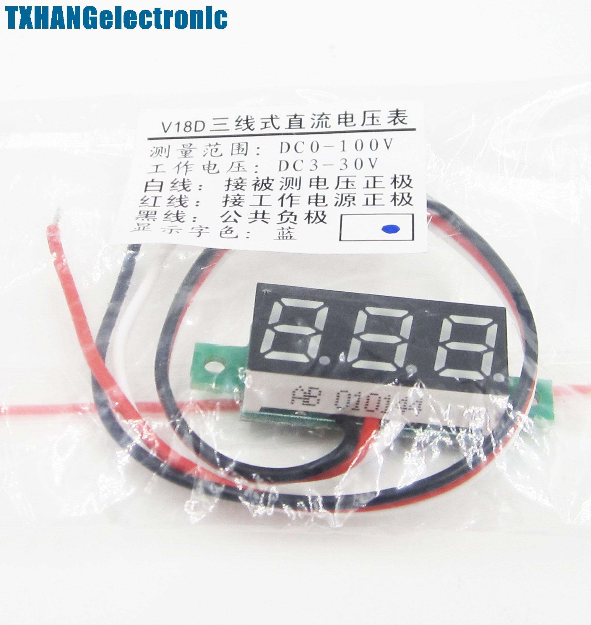 "1 ШТ. 0.28 ""LED DC 0-100 В Цифровой Вольтметр Panel Meter Синий ЦВЕТ"
