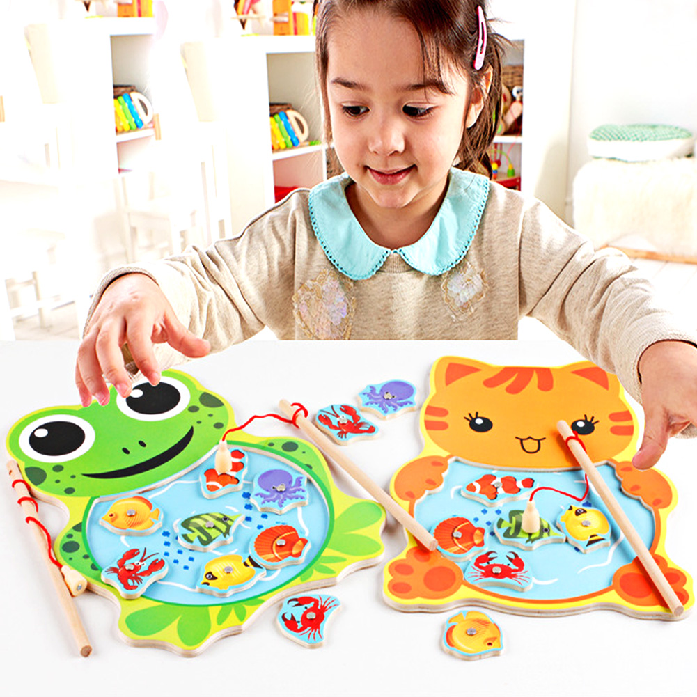 Baby Kids Magnetic Fishing Game Board with 2 Fishing Rod for Children Wooden Animal Frog Cat Fishing Toy Educational Baby Toys