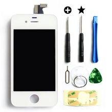 Blanco / negro LCD lente de la pantalla táctil montaje del digitizador asamblea marco para el iPhone 4S con herramientas de reparación