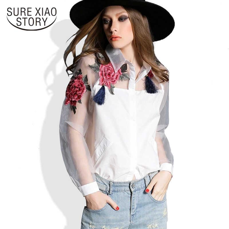 afe185a82b6 Лето 2019 г. Новая Мода vestidos кардиганы для женщин цветок вышивка  органза рубашка сетки camisetas