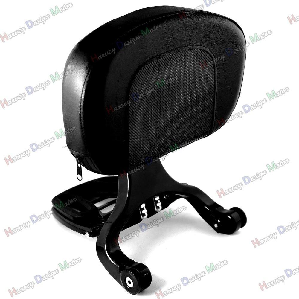 Black Multi Purpose Adjustable Driver & Passenger Backrest For Harley Touring Street Glide Road King 09-13