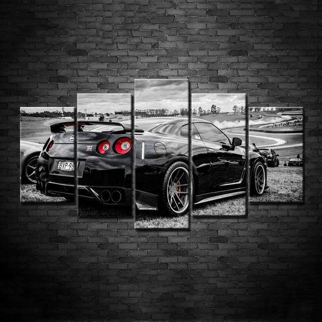 Captivating Modern Art Frame HD Printed Wall Canvas Pictures 5 Panel Nissan GTR Home  Decoration Car Living