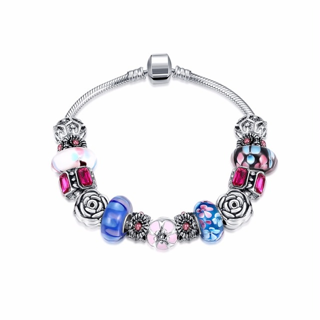 Silver Plated Charm Bracelets For Women Cable-wire Chain Bracelet Crystal Glass Beads Bangles Brand Jewelry Pulseras