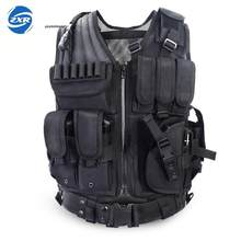 Unloading Police Tactical Hunting Vest Outdoor Camouflage Military Body Armor Sports Wear Vest Army Swat Molle Vest Black(China)
