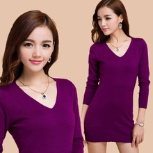 2019 new Women Autumn Winter wool Sweater Knitted Dresses Slim Elastic V-neck Long Sleeve Sexy Lady Bodycon Robe Dresses S-3XL