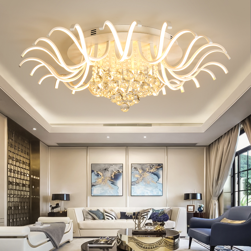 White Ceiling Chandelier Lighting LED lamp for Living Dining Room Crystal Chandelier Lig ...