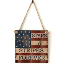 Vintage Wooden Hanging Plaque Stars And Stripes Forever Sign Board Wall Door Home Decoration Independence Day Party Gifts цена 2017