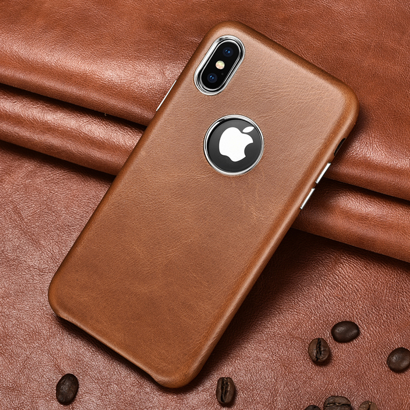 ICARER Genuine Leather Back Cover Case For iPhone XS MAX Vintage Metal Volume Button Case For