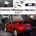 3 in1 Câmera Sem Fio + Receptor + Monitor Espelho Especial fácil Sistema De Estacionamento Para Mazda 3 M3 Axela Mazda3 Hatchaback 2013 ~ 2015