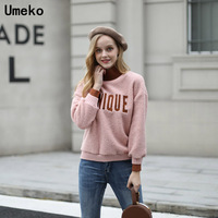 Women Sweater Long Sleeve Turtleneck Wool Warm Tops Winter 2018 Letter Clothes Lady for Girls Cute Fashion Women Pullover