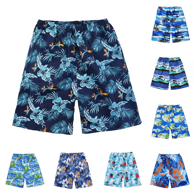 2019 New Printing Swim   Shorts   Men Quick Drying Cotton Beach   Shorts   Men Elastic Waist Hawaiian   Shorts   Summer Casual   Board     Shorts