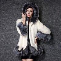 High Imitation Fur Coat Women Fox Fur Collar Hooded Mink White And Black Fur Coat Medium long Overcoat Winter Coat