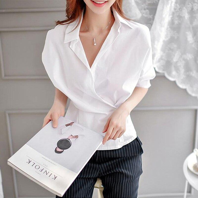 2017 New Autumn Fashion Women   Shirts   Batwing Sleeve V-Neck 3499 Ol Cross Deep Tunic   Blouse     Shirt   White 9745
