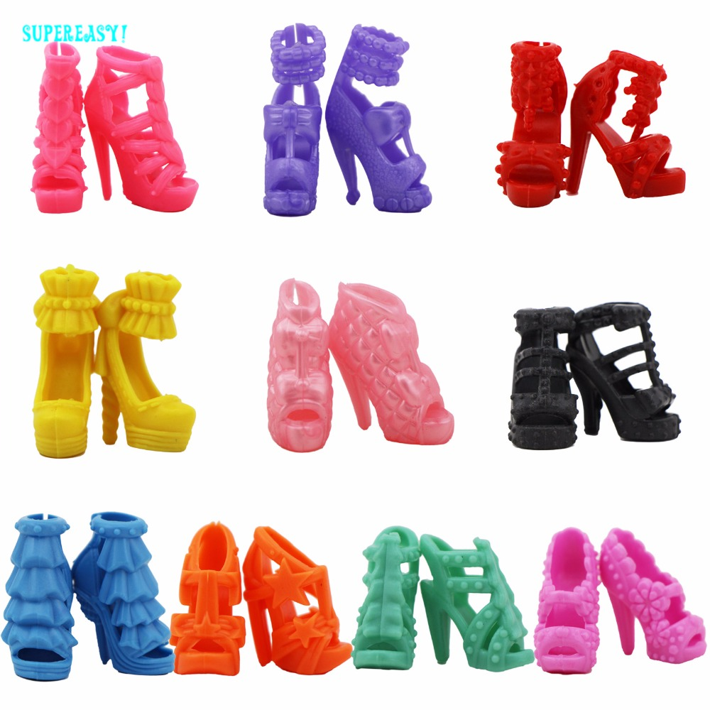 10 Pairs Colorful Shoes Mixed Style Assorted High Heels Sandals Outfit Dress Clothes Accessories For Barbie FR Kurhn Doll Toy